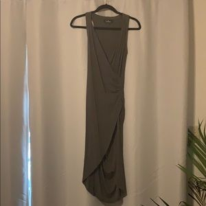 Lulu's Grey Form Fitting Wrap Dress